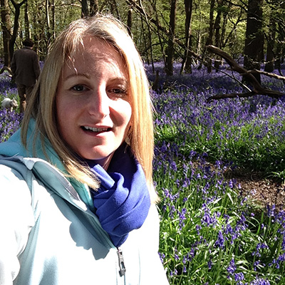 Sam in her favourite bluebell woods