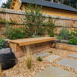 Slate Water feature and Oak Cantilevered Bench
