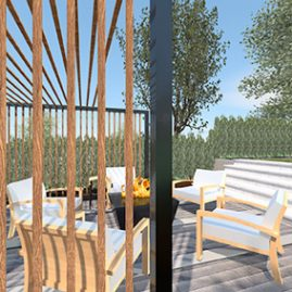Sunken seating area, pergola & fire table, created in Vectorworks 3D