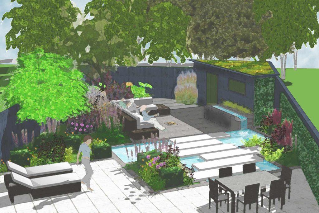 Contemporary garden sketch design