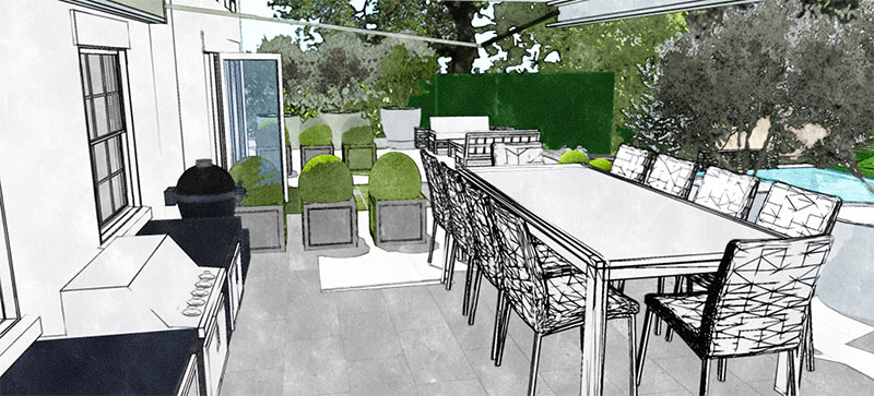 Outdoor kitchen and dining terrace