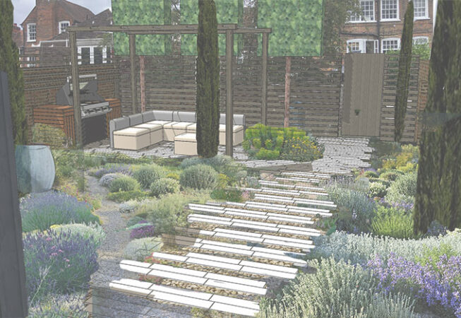 Walled Garden in Marlow with Pergola