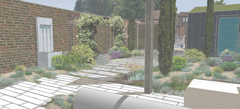 Walled Garden with water feature